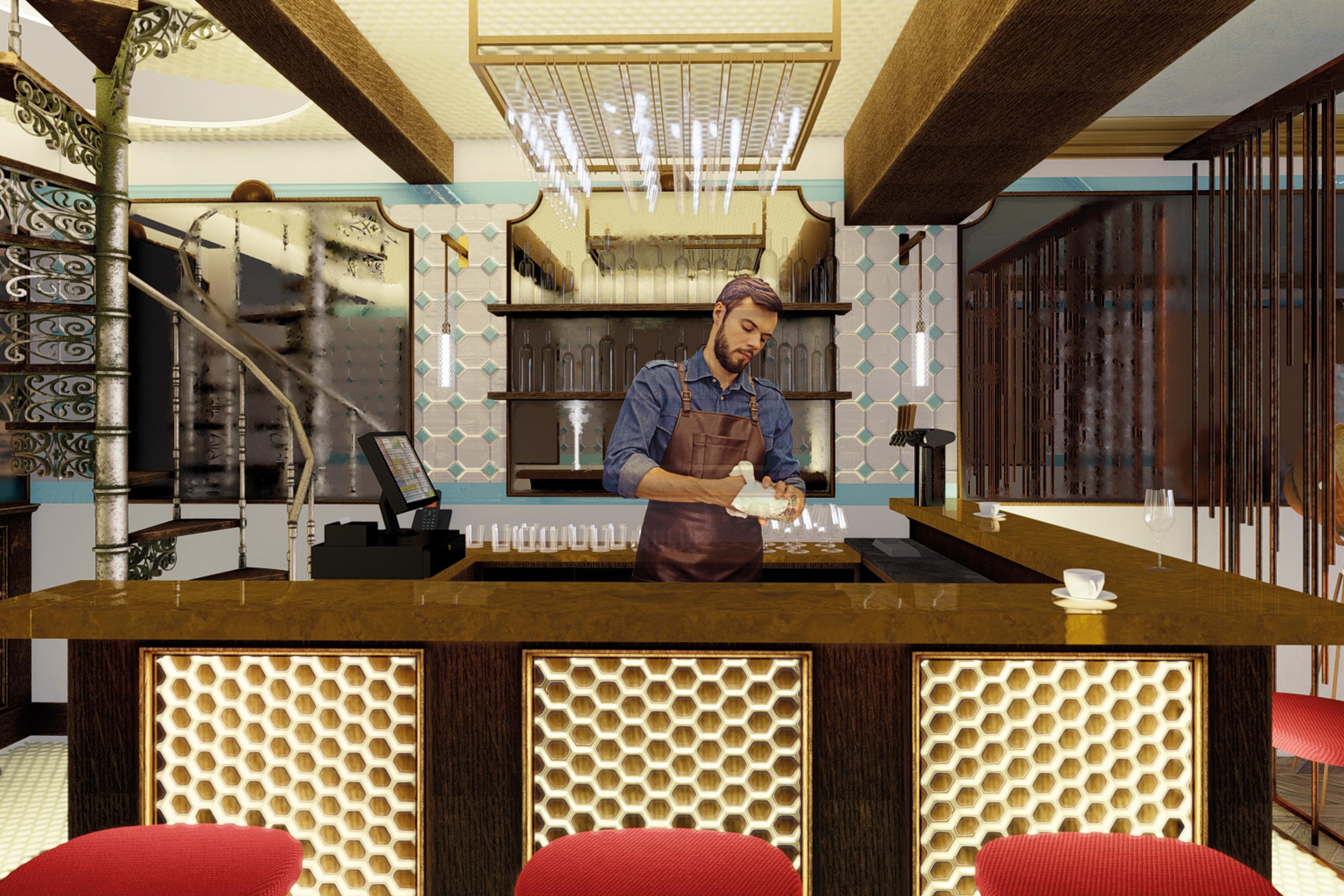 Architecture d'intérieur réinventée, modernisation d'un restaurant parisien. Ancien-moderne, contraste ancien-moderne, réinvention d'intérieur, modernisation d'intérieur, transformer l'ancien, contraste ancien-moderne, style parisien revisité, architecture modernisée